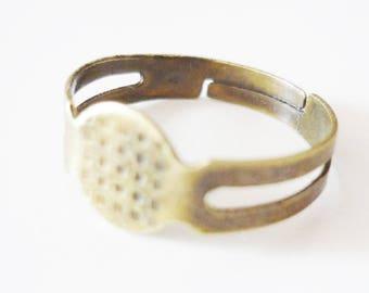 Set of 10 blank ring adjustable silver metal