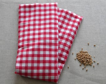 Heating pad neck wheat organic Red and white gingham