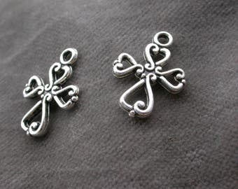 set of 6 metal beads silver cross pendants