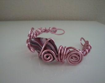 Pink and plum wire wedding bracelet Aluminum Pink