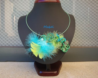 Lime green and turquoise wedding, feather and Butterfly Necklace