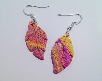 """Feather color gradient polymer clay earrings"