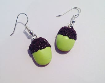 """Green salombo"" polymer clay earrings"