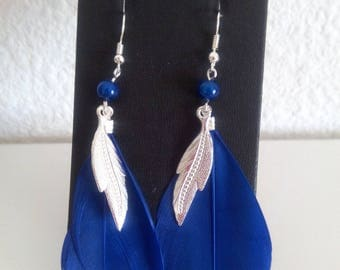 Earrings dark blue and silver
