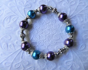 Teal, purple and silver stretch bracelet