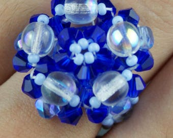 Light and dark blue swarovski crystal ring