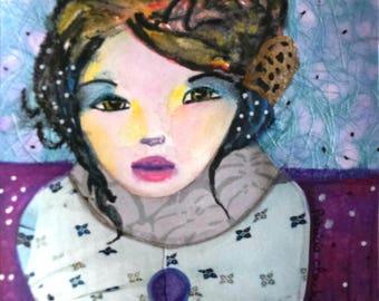 Charline portrait woman without a matte paper