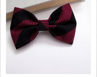 Bow tie and clip in hair 2 in 1 black stripe purple