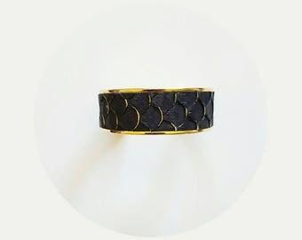 Black Gold Leather wide cuff