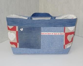 Sac Cabanel en jean recyclé, COEURS LOVE,  doublé coton écru avec poches