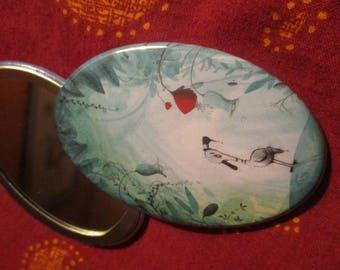 Illustrated oval mirror - duck