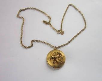 Vintage Costume Lip Gloss Locket Pendant & Chain Necklace Flowers