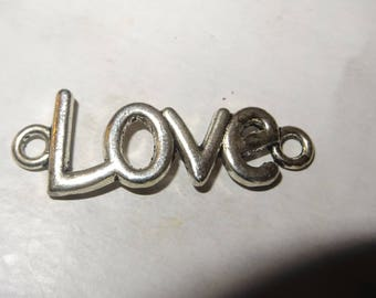 1 charm connector love silver-plated curb chain or pendant