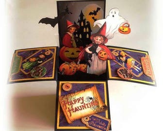 Vintage Halloween gift card with envelope