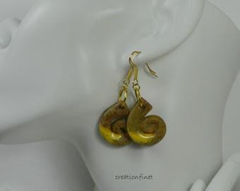 """""""Fossil"""" earthenware enameled earrings"""