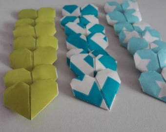 Set of origami hearts: Mint Collection