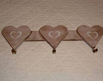 """""""three hearts"""" old patina coat hook"""