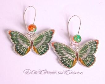 Green and orange butterfly earrings