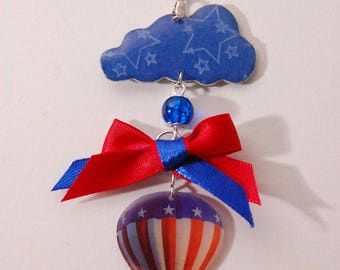 Hot air balloon, blue and red, Pearl, bow, stars and cloud necklace