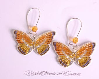 Yellow and gray butterfly earrings