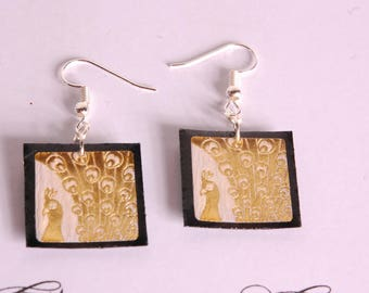 Gold on black Peacock earrings