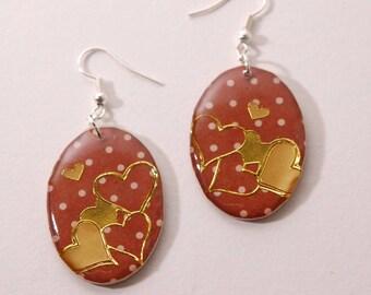 Heart Earrings gold, Brown dots