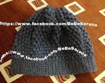 Grey Beanie charcoal crochet handmade