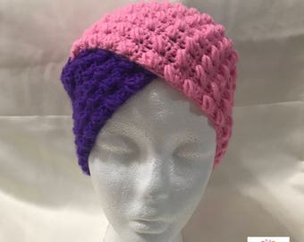 Two-tone purple pink crochet turban women Hat