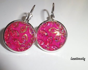 sequin pink fashion earrings