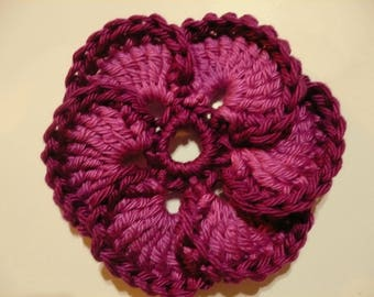 crochet flower, pink and Burgundy textile customization