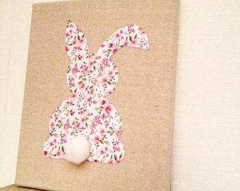 Canvas liberty Bunny, baby decor nursery baby room baby girl