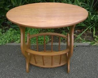 Vintage Magazine Rack   Mid Century Furniture   Teak Side Table   Solid  Wood Table