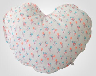 Neon patterned heart cushion