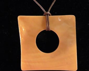 Orange square mother of Pearl Necklace
