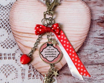 Baby bag hook personalized cabochon auxiliary keychain. Red keychain