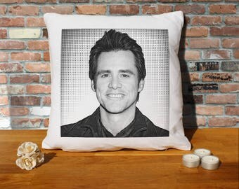 Jim Carrey Pillow Cushion - 16x16in - White