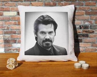 Josh Brolin Pillow Cushion - 16x16in - White
