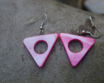 made of mother of Pearl triangle earrings