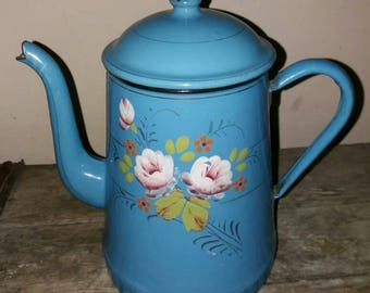 Beautiful Hand Painted Floral Vintage French Blue Enamel Coffee Pot/Tea Pot, Rustic,Gift,Kitchen Decor,Flower Pot,French Enamelware
