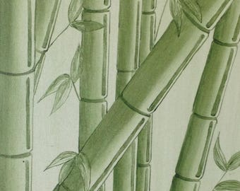 Acrylic on canvas painting, bamboo
