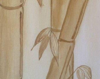 Paintings, canvas, Acrylic paint, monochrome bamboo