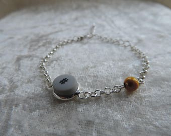 Bracelet cabochon recycling phone touch sharp, magical yellow pearl bracelet