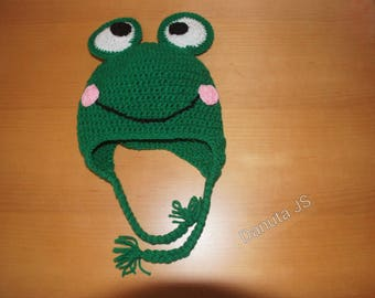 Mixed frog Hat handmade crochet with acrylic yarn