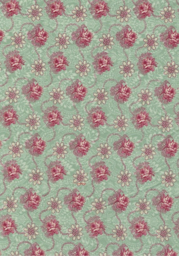 Floral cotton fabric coupon