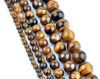 Perle ronde en oeil de tigre 10mm x5