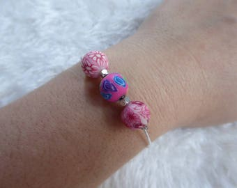 Trio of pink polymer clay Beads Bracelet
