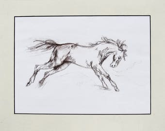 Running horse drawing