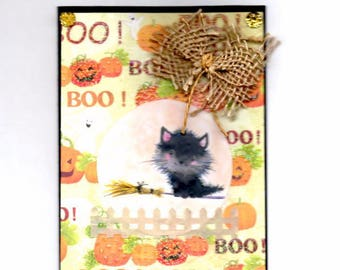 305 - Halloween Pumpkin black cat greeting card