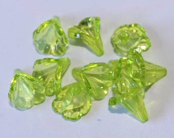 Beads acrylic flowers, green, 11 * 10 mm, set of 10