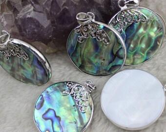 36mm Coin Natural New Zealand Paua Abalone Shell pendant Jewelry Making 1Pcs